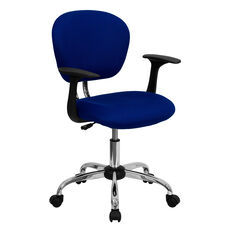 Mid-Back Blue Mesh Padded Swivel Task Chair with Chrome Base and Arms