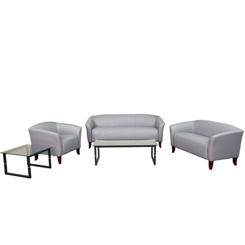 """Our HERCULES Imperial Series Reception Set in Gray LeatherSoft with <span style=""""color:#0000CD;"""">Free </span> Tables is on sale now."""