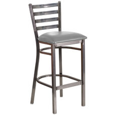 Clear Coated Ladder Back Metal Restaurant Barstool with Custom Upholstered Seat