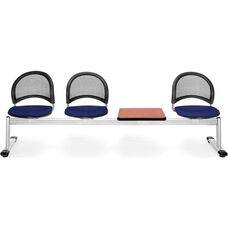 Moon 4-Beam Seating with 3 Navy Fabric Seats and 1 Table - Cherry Finish
