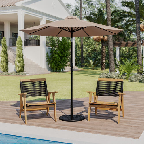 """Tan 9 FT Round Umbrella with 1.5"""" Diameter Aluminum Pole with Crank and Tilt Function"""