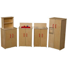 Contender Set of Four Wooden Kitchen Appliances with Red Accents - Assembled - 64