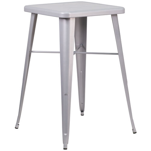 """Our Commercial Grade 23.75"""" Square Silver Metal Indoor-Outdoor Bar Height Table is on sale now."""
