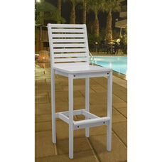Bradley Outdoor Patio Wood Bar Chair with Ladder Back and Wide Footrest - White