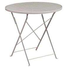 "Commercial Grade 30"" Round Light Gray Indoor-Outdoor Steel Folding Patio Table"