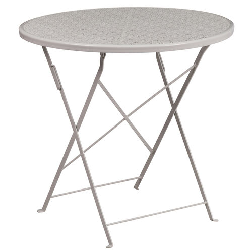 """Our Commercial Grade 30"""" Round Light Gray Indoor-Outdoor Steel Folding Patio Table is on sale now."""