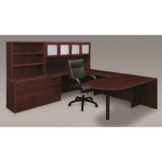 Fairplex Deluxe Left Executive Peninsula U Workstation - Mahogany