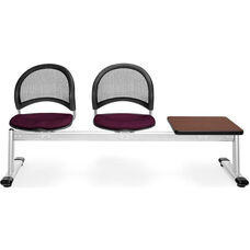 Moon 3-Beam Seating with 2 Burgundy Fabric Seats and 1 Table - Mahogany Finish