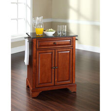 Solid Black Granite Top Portable Kitchen Island with Lafayette Feet - Classic Cherry Finish