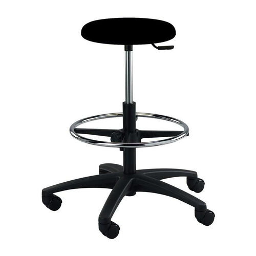 Our Industrial Round Black Polyurethane ABS Base Stool with Dual Wheel Casters and Footring is on sale now.
