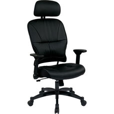 Space 32 Series Bonded Leather Seat and Back Managers Chair with Headrest