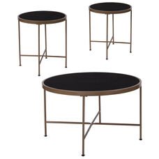Chelsea Collection 3 Piece Coffee and End Table Set with Black Glass Tops and Matte Gold Frames