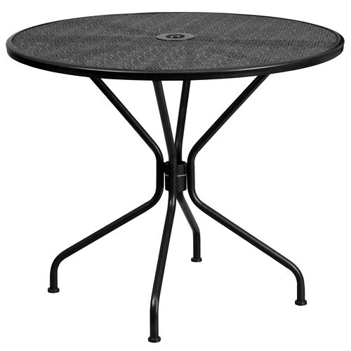 "Our Commercial Grade 35.25"" Round Black Indoor-Outdoor Steel Patio Table is on sale now."