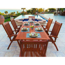 Malibu Outdoor 7 Piece Wood Patio Dining  Set with Rectangular Extension Table and 6 Reclining Armchairs