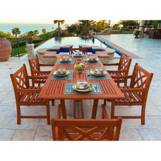 Malibu Outdoor 7 Piece Wood Patio Dining  Set with Rectangular Extension Table and 6 Decorative Back Armchairs