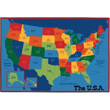 Kids Value USA Map Rectangular Nylon Rug - 96