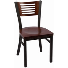 Jones River Series Wood Back Armless Chair with Steel Frame and Wood Seat - Walnut