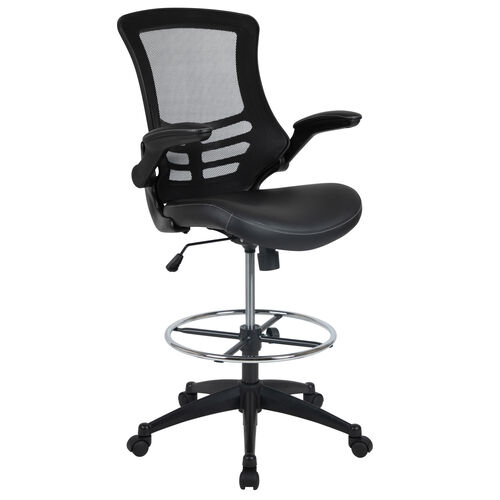Our Mid-Back Black Mesh Ergonomic Drafting Chair with LeatherSoft Seat, Adjustable Foot Ring and Flip-Up Arms is on sale now.