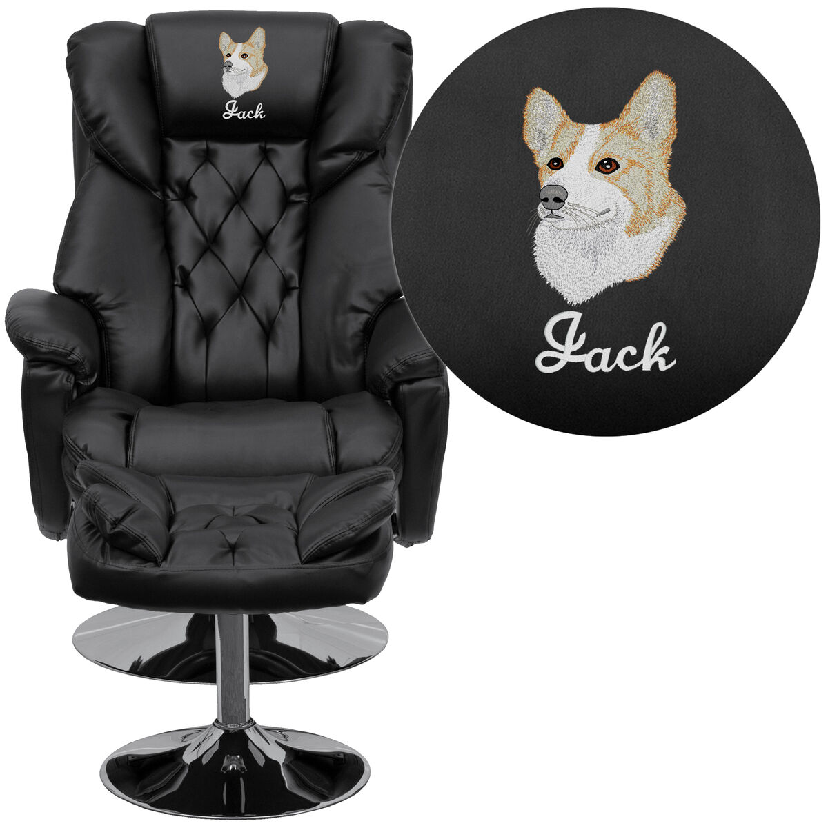 Embroidered Transitional Multi Position Recliner And