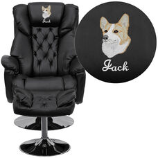 Embroidered Transitional Multi-Position Recliner and Ottoman with Chrome Base in Black Leather