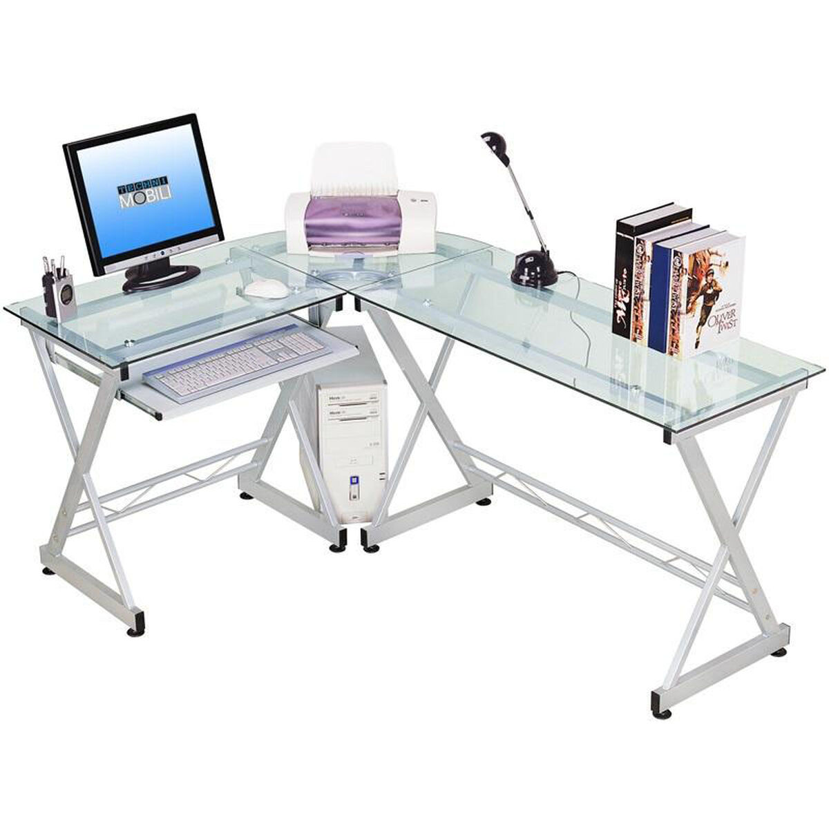 Our Techni Mobili L Shaped Clear Glass Computer Desk Is On Now