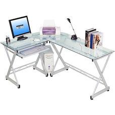 Techni Mobili L-shaped Clear Glass Computer Desk
