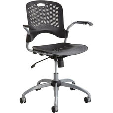 Sassy® Manager Swivel Chair with Flexible S Wave Design - Black with Silver Base