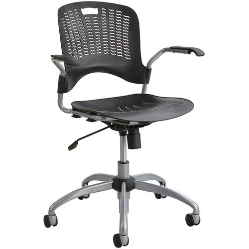 Our Sassy® Manager Swivel Chair with Flexible S Wave Design - Black with Silver Base is on sale now.
