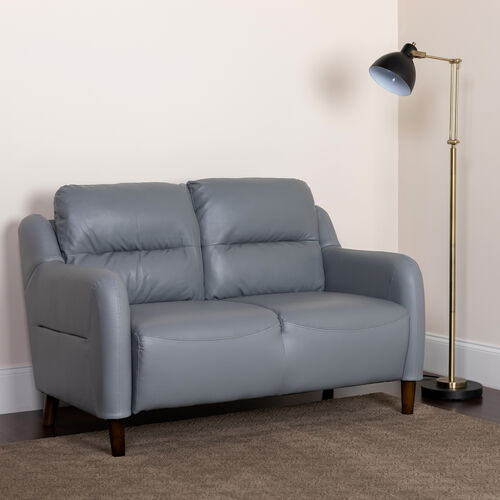 Our Newton Hill Upholstered Bustle Back Loveseat in Gray LeatherSoft is on sale now.
