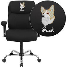 Embroidered HERCULES Series Big & Tall 400 lb. Rated Black Fabric Swivel Task Chair with Adjustable Arms