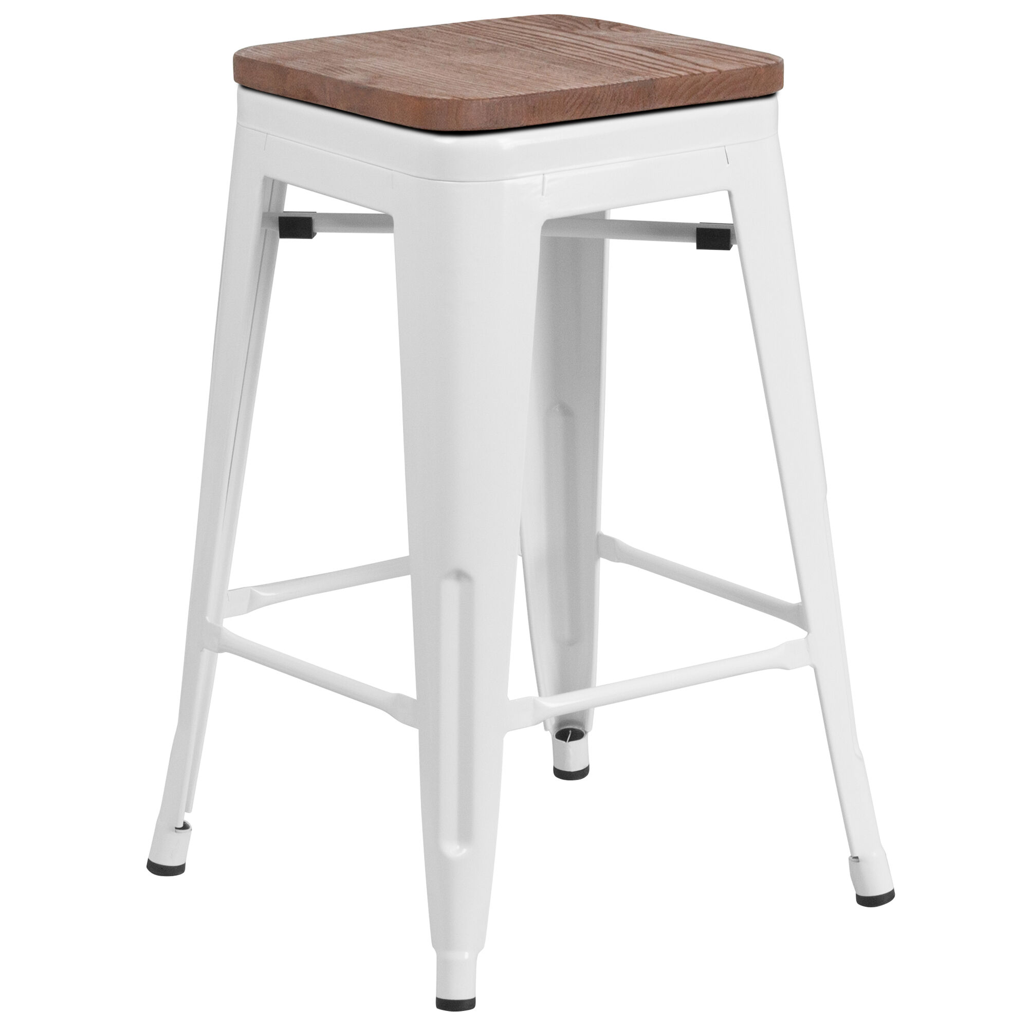 Peachy 24 High Backless White Metal Counter Height Stool With Square Wood Seat Pdpeps Interior Chair Design Pdpepsorg