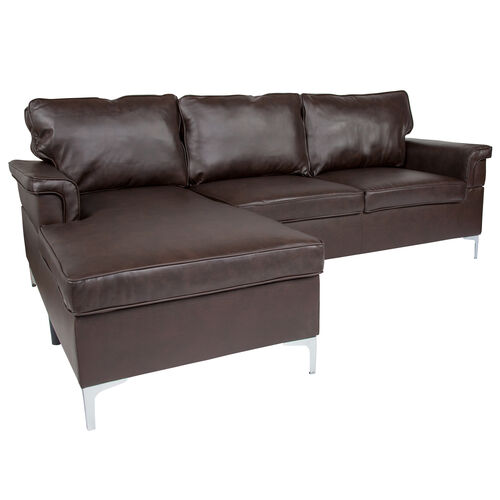 Our Boylston Upholstered Plush Pillow Back Sectional with Left Side Facing Chaise in Brown Leather is on sale now.