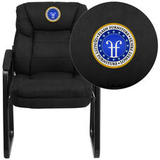 Embroidered Black Microfiber Executive Side Reception Chair with Sled Base