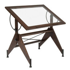 Aries Clear Tempered Glass and Wood Drafting Table - Dark Walnut