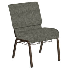 Embroidered 21''W Church Chair in Interweave Slate Fabric with Book Rack - Gold Vein Frame