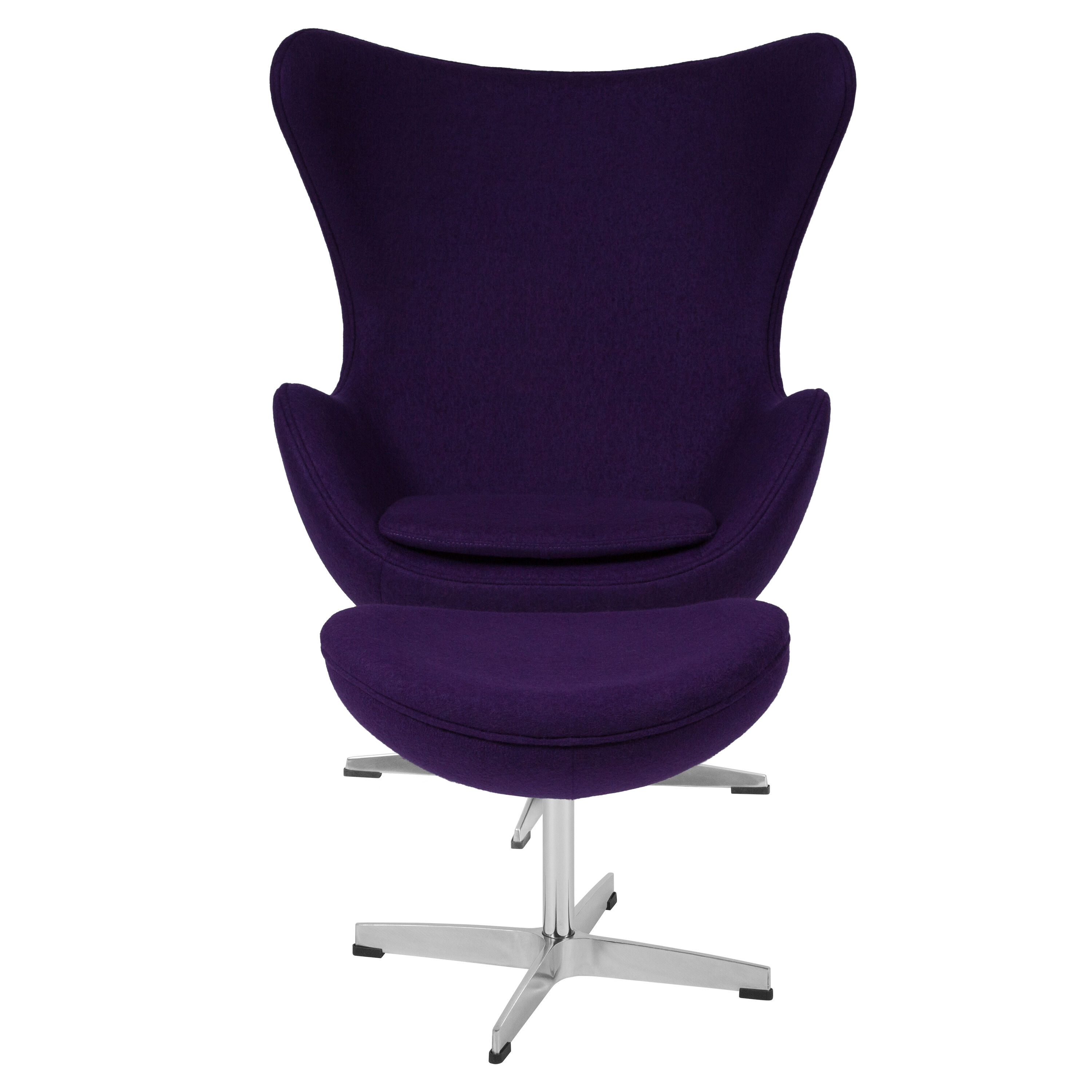 ... Our Purple Wool Fabric Egg Chair With Tilt Lock Mechanism And Ottoman  Is On Sale