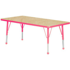 Adjustable Standard Height Laminate Top Rectangular Activity Table - Maple Top with Fuchsia Edge and Legs - 30