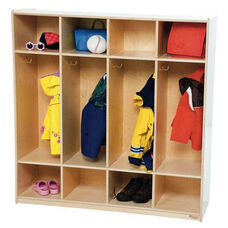4-Section Locker with Two Coat Hooks in Each Section and Storage Above and Below - Assembled - 48