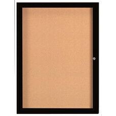 1 Door Indoor Enclosed Bulletin Board with Black Powder Coated Aluminum Frame - 48