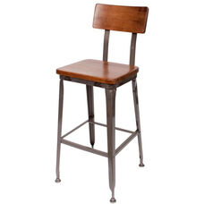 Lincoln Metal Clear Coat Barstool - Ash Wood Seat and Back