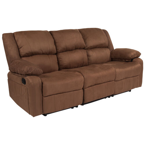 Our Harmony Series Chocolate Brown Microfiber Sofa with Two Built-In Recliners is on sale now.