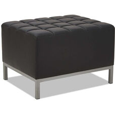Alera® QUB Series Ottoman with Tufted Seat and Silver Steel Legs - Black