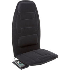 Relaxzen 10-Motor Massage Seat Cushion with Heat and Extra Foam - Black
