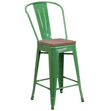 "24"" High Green Metal Counter Height Stool with Back and Wood Seat"