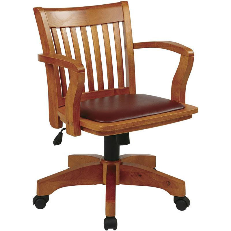 ... Our OSP Designs Deluxe Wood Bankeru0027s Chair With Black Vinyl Padded Seat    Fruitwood Is On ...