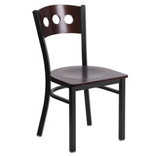 Black Decorative 3 Circle Back Metal Restaurant Chair with Walnut Wood Back & Seat