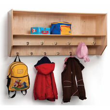 Double Row Wall Mounted Birch Laminate Coat Rack with 12 Hooks