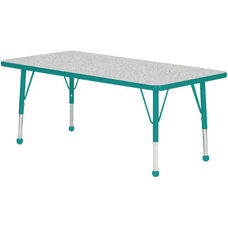 Adjustable Standard Height Laminate Top Rectangular Activity Table - Nebula Top with Teal Edge and Legs - 72