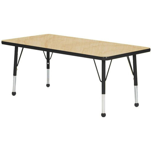 Adjustable Toddler Height Laminate Top Rectangular Activity Table - Maple Top with Black Edge and Legs - 30