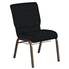 18.5''W Church Chair in Lancaster Pewter Fabric with Book Rack - Gold Vein Frame